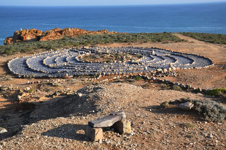 The Wandering Whale Labyrinth, just south of Strandfontein, is an exceptional labyrinth with paths made of blue mussel shells with a pink rose quartz centre.