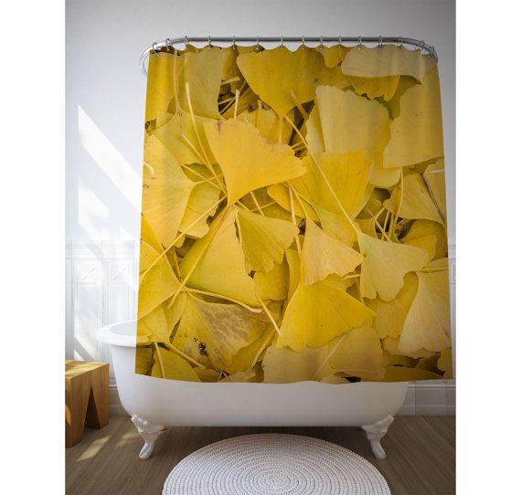 ginko leaves shower curtain yellow bath decor nature photography yellow shower art