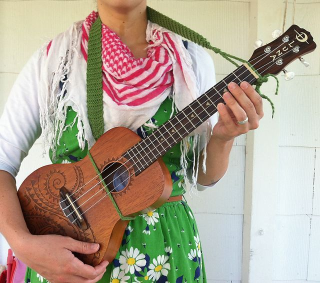 DIY Knit Ukulele Strap :) I'll be sharing the pattern asap!