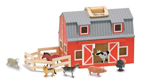 """Fold & Go Barn     Young MacDonalds will enjoy """"down on the farm"""" fun with this fully assembled, wooden barn. Two-story barn is stocked with seven realistic plastic farm animals, a wooden ladder and a folding corral. Chunky handles let you take your bit of """"country"""" wherever you go! $49.99"""