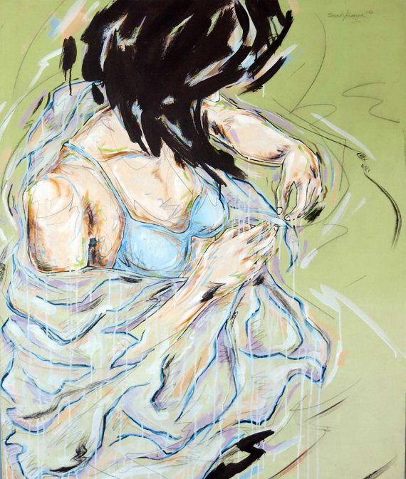 Untiltled; 2012 Artist Syahraya- Acrylic and pencil on canvas 100cm x 120cm on Etsy, $600.00 AUD