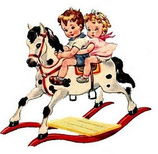 Could not pass up this darling hobby horse duo....free vintage printables