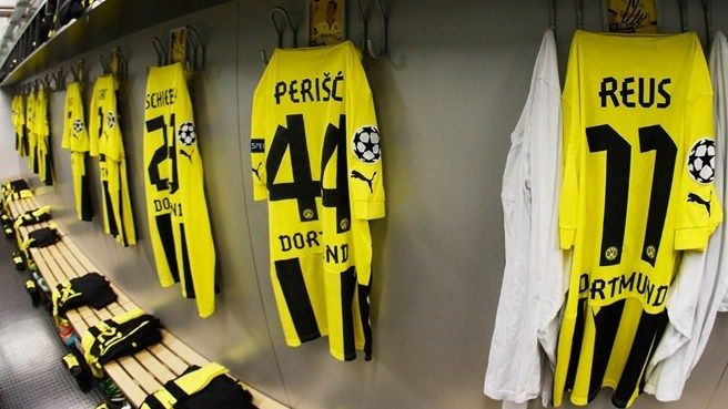 The Borussia Dortmund dressing room ahead of their UEFA Champions League group stage match against Manchester City FC  ©Getty Images