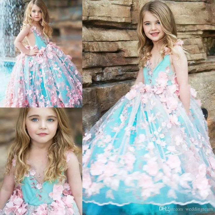 New Arrival Ball Gown Girls Pageant Dresses Open Back Toddler Flower Girl Dress Floor Length Tulle 3d Appliques First Communion Gowns Glitz Pageant Dresses For Girls Glitz Pageant Dresses For Sale From Weddingteam, $102.22| Dhgate.Com