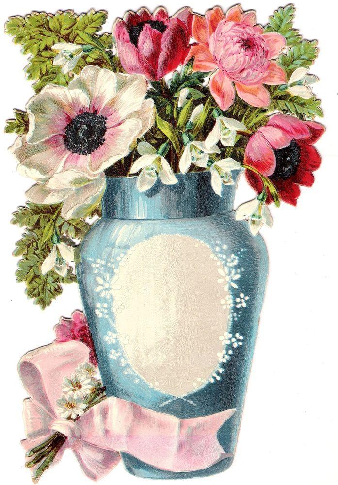 Oblaten Glanzbild scrap die cut chromo Blumen Vase 22cm Karton