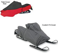 Snowmobile covers for Arctic Cat CFR 1000 2010 to 2011 snowmobiles. Choice of covers include the total cover in red and the custom fit cover in black.