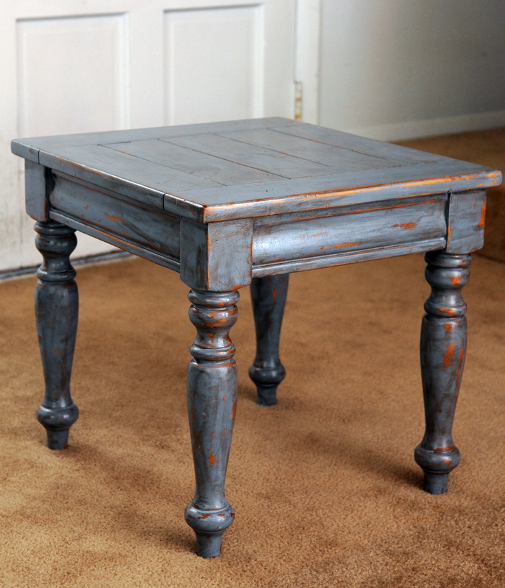 Another second hand store treasure. All wood table redone in blue and distressed with a dark oil finish and a shabby shine!