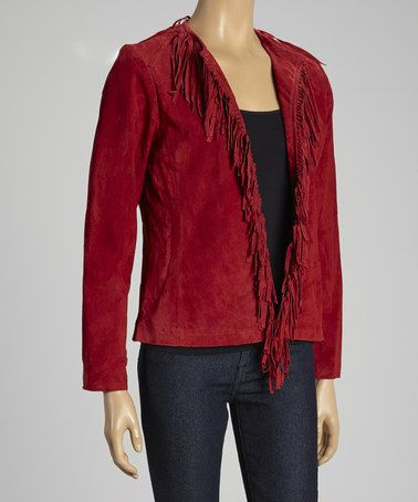 Take a look at this Red Fringe Suede Jacket by Winter Bazaar: Women's Apparel on @zulily today!