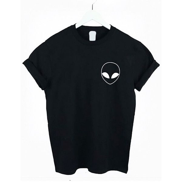Black Alien Print T-shirt With Pocket ($17) ❤ liked on Polyvore featuring tops, t-shirts, print t shirts, pattern pocket t shirt, pocket tee, print tee and pattern t shirt