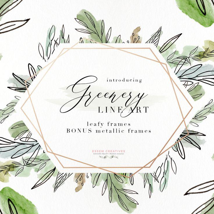 Wedding Branding Ideas: Watercolor Greenery Line Art PNG Clipart, Tropical Rustic