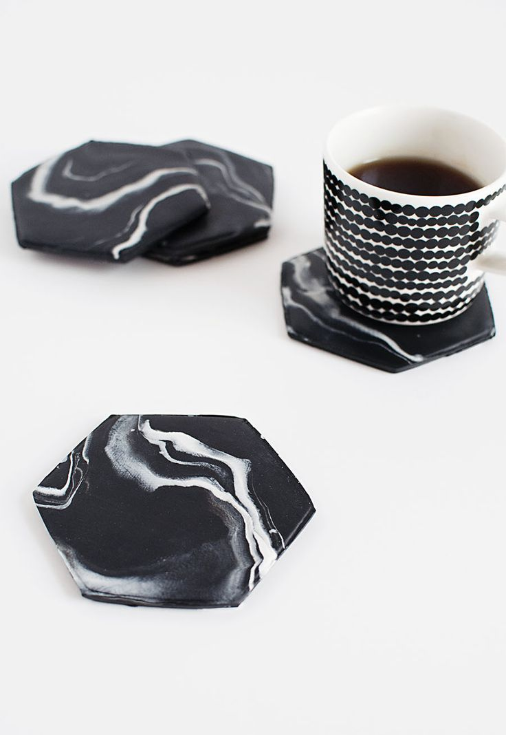 DIY Black Marble Hexagon Coasters