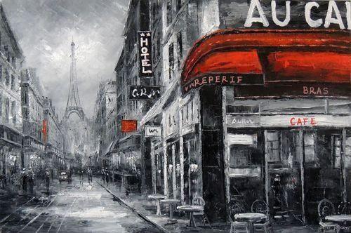 Paris 1800's Black & White Cafe Bar Restaurant Street Eiffel Tower ...