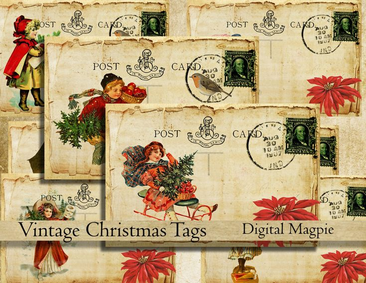 Vintage Christmas tags postcards digital collage sheet instant download printable craft images digital graphic paper crafts by DigitalMagpie on Etsy