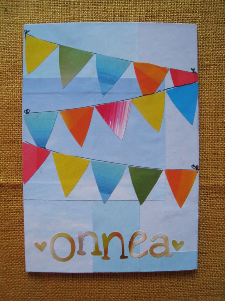 Celebration! Pennant ribbon card made of cardboard and old magazine.