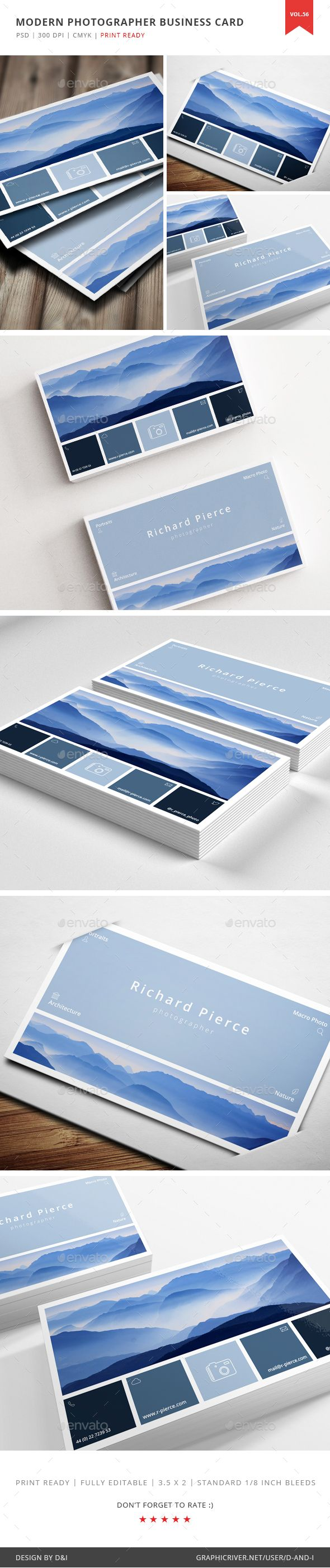 Modern Photographer Business Card Vol. 56 - Creative Business Card Template PSD. Download here: http://graphicriver.net/item/modern-photographer-business-card-vol-56/16601339?s_rank=222&ref=yinkira