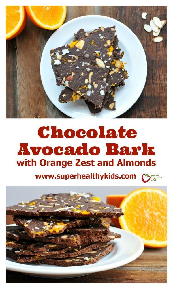 Chocolate Avocado Bark. Coconut + Orange Zest makes this chocolatey treat absolutely amazing!! www.superhealthykids.com/chocolate-avocado-bark-orange-zest-almonds