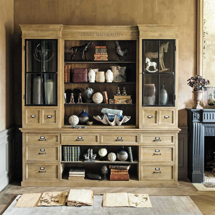 biblioth que en manguier l 235 cm naturaliste maisons du monde mdm classique pinterest. Black Bedroom Furniture Sets. Home Design Ideas