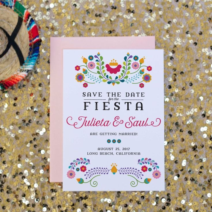 Fiesta Save the Date Wedding Invitation, Mexican Invitation, Fiesta Party, Cinco De Mayo, Birthday, Bridal Shower | Julieta by SoireePapery on Etsy https://www.etsy.com/listing/291026947/fiesta-save-the-date-wedding-invitation