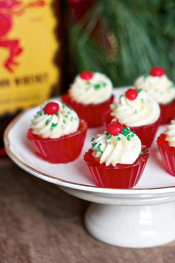 Fireball Jello Shots with Fireball Buttercream Frosting (1-1/3 cup ginger ale 2 envelopes plain gelatin 2/3 cup Fireball Cinnamon Whisky Few drops red food coloring 1/2 cup unsalted butter  1 Tbs Fireball Cinnamon Whisky 1-1/2 cups powdered sugar Pinch of salt)