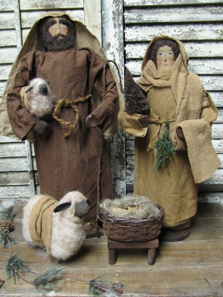Jesus, Joseph and Mary~ Nativity By Folk Artist Sue Corlett ~ 1897 House.~ Sunday Update Nov 10th, 2013. http://1897houseprimitives.blogspot.com/