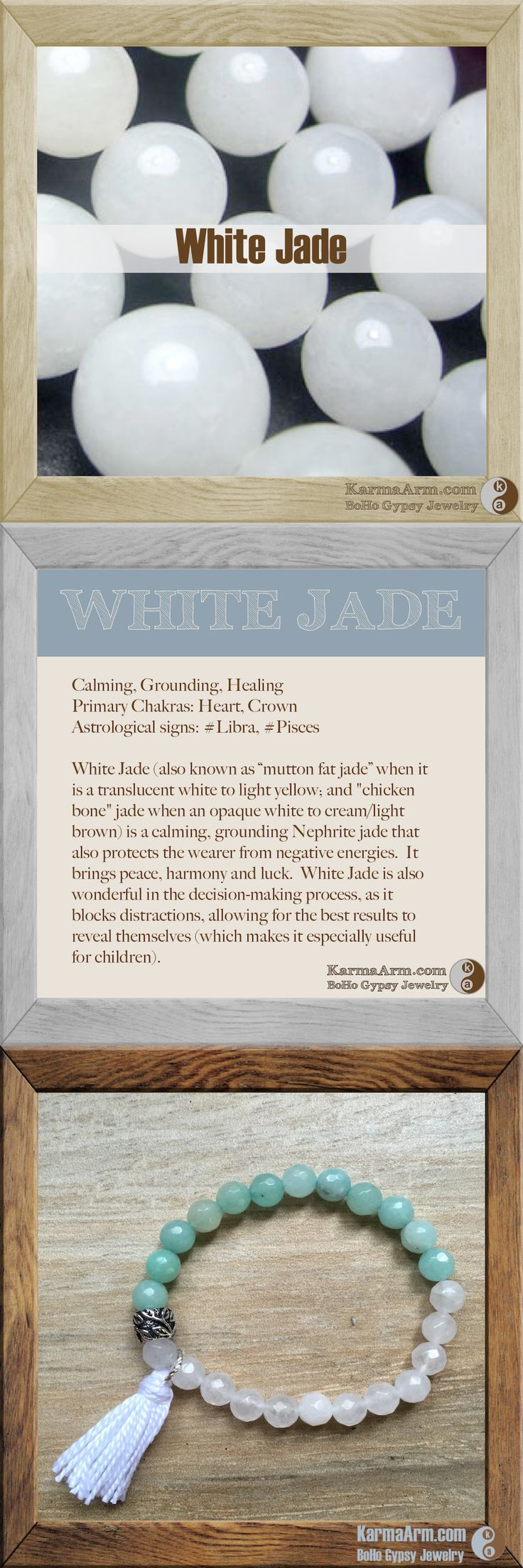 "WHITE JADE: Calming, Grounding, Healing Primary Chakras: Heart, Crown Astrological signs: #Libra, #Pisces  White Jade (also known as ""mutton fat jade"" when it is a translucent white to light yellow; and ""chicken bone"" jade when an opaque white to cream/light brown) is a calming, grounding Nephrite jade that also protects the wearer from negative energies.  It brings peace, harmony and luck.  White Jade is also wonderful in the decision-making process, as it blocks distractions."