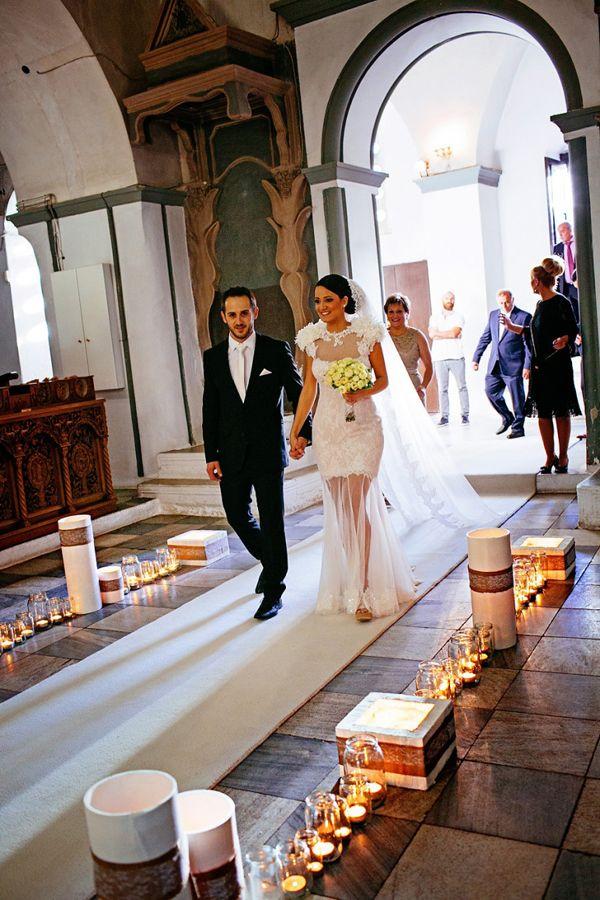 Mason jars and candles...so beautiful #masonjars #greekchurchwedding See more http://www.love4weddings.gr/unique-wedding-decoration-ideas/