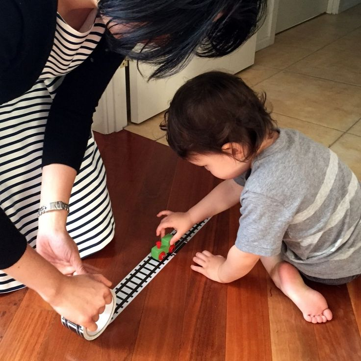 Cool Things Tuesday!  Take a train track with you wherever you go with Donkey Products 'My First Train' railway track sticky tape.  http://bit.ly/traintracktape