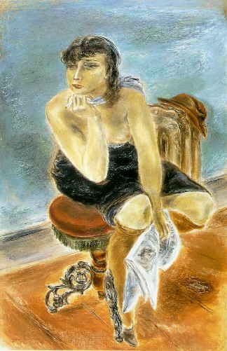 デイリー・ニュース Daily News 1935年 127.0x83.8cm 油彩/カンヴァス シンシナティ美術館蔵   1935年には、国吉はわずか10点足らずしか油彩を制作していませんが、心身ともに充実していた彼は、これらの油彩にエネルギーの全てを注ぎ込んで、彼の生涯でも最も制作意欲の高揚した時期をすごしています。サラ・マゾとの結婚、グッゲンハイム助成金の獲得、経済的安定など、周囲の環境もととのった上に、国吉は自分の描く目的に確固たる自信を持った年でした。  「デイリーニュース」は、「もの思う女」と共にこの年の最大の収穫の一つであり、また国吉の生涯を通してみても最高作の一つです。この作品は国吉の代表作として最もよく紹介され、新聞、雑誌、本を通して世界中に知られています。また、ハリウッドの名優エドワード・G・ロビンソンが長年所有し、彼の有名なコレクションの中核をなしていました。ロビンソン夫妻が、作品の複製図版にきわめて開放的であったため、日本の出版社から発行された美術全集にも早くから紹介され、この作品の写真を見て国吉を知った人も多いはずです。