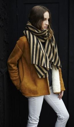camel coat + stripe scarf