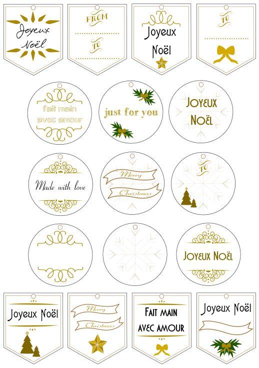 Etiquettes de Noël dorées à imprimer