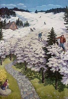 Giclee on Canvas 'Spring Skiing' surrrealist art by Rob Gonsalves