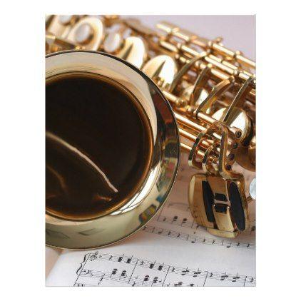 Saxophone Music Gold Gloss Notenblatt Keys Letterhead - gold gifts golden diy custom