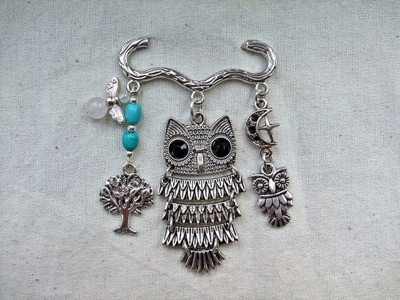 Owl Kilt Pin Brooch/Bag Dangle, Zakka Owl, Owl Charm, Tree of Life, Moon and Star Charm, Turquoise, Bee Charm, Rose Quartz by AuroraGemBoutique