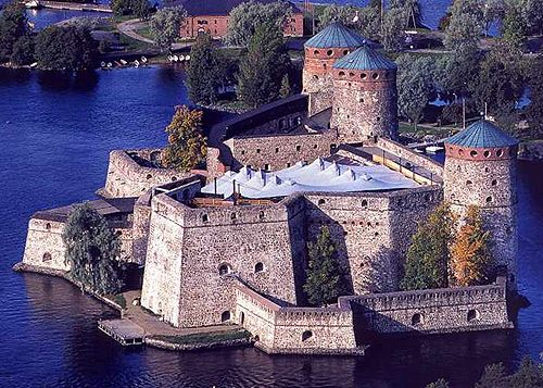 Olavinlinna (St. Olaf's Castle) in Savonlinna, Finland. It is the northernmost medieval stone fortress in Europe still standing - www.castle...