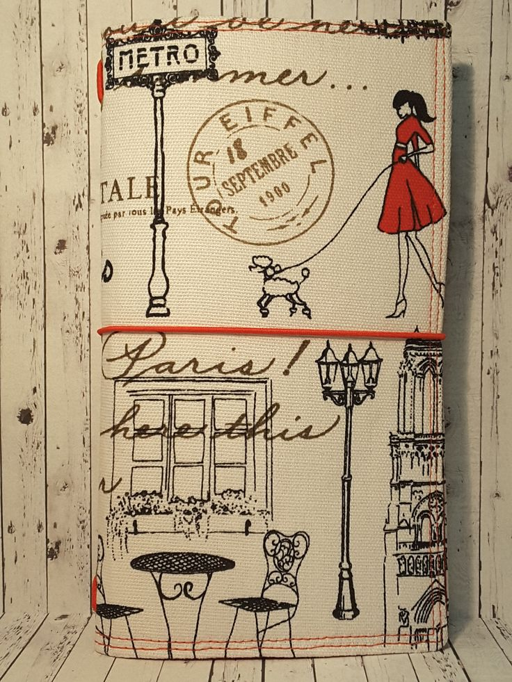 Wilddori 'Summer in Paris' Travelers Notebook Journal with Red Lining and Red Elastic, Midori Style Fauxdori, with Insert. by WildWicksGifts on Etsy