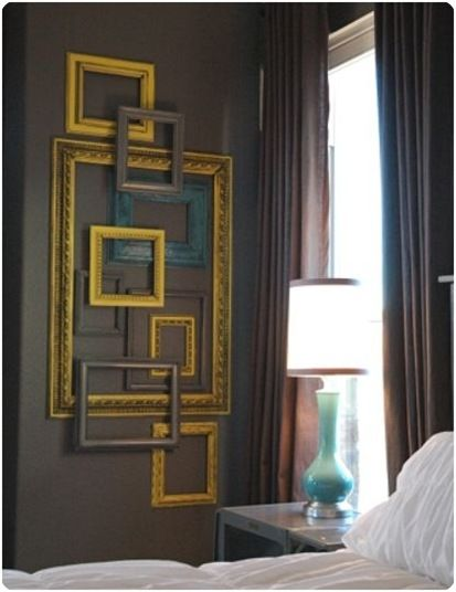 Gotta do this in the guest with my frames!  L<3VE!: Wall Art, Wall Decor, Paintings Frames, Empty Frames, Old Frames, Frames Collage, Frames Wall, Pictures Frames, Frames Art