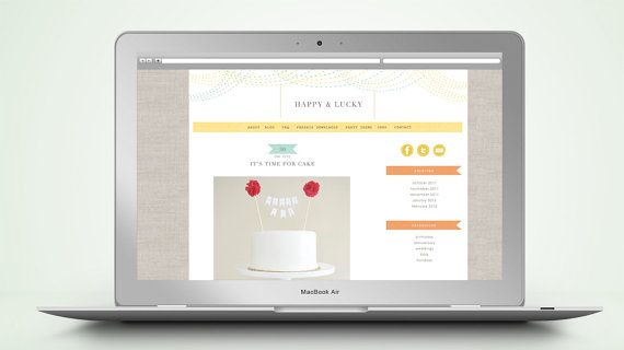 """Happy"" PreMade Wordpress Blog Template...I like the banners, linen background and white space.: Website Templates, Blog Templates I, Blog Template I"