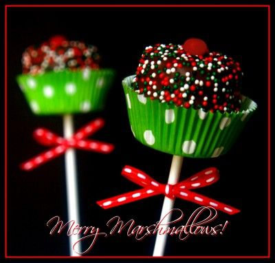 Merry Marshmallow Pops~love the mini cupcake papers on them