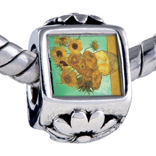 Pugster Bead Vase 12 Sunflowers Painting Beads Fits Pandora Bracelet Pugster. $12.49. Fit Pandora, Biagi, and Chamilia Charm Bead Bracelets. It's the photo on the flower charm. Unthreaded European story bracelet design. Hole size is approximately 4.8 to 5mm. Bracelet sold separately