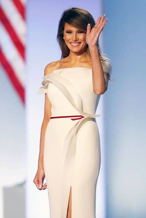 Melania Trump Inaugural dress stunning off the shoulder modern fitted dress