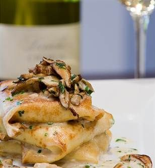 Nothing is as wonderful as chicken crepes except when you add mushrooms and cream sauce :) Yum.