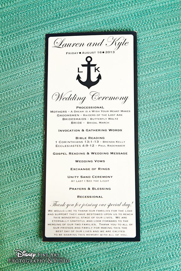 Anchors aweigh! We adore this nautical ceremony program #Disney #wedding #ceremony #program #nautical #anchor