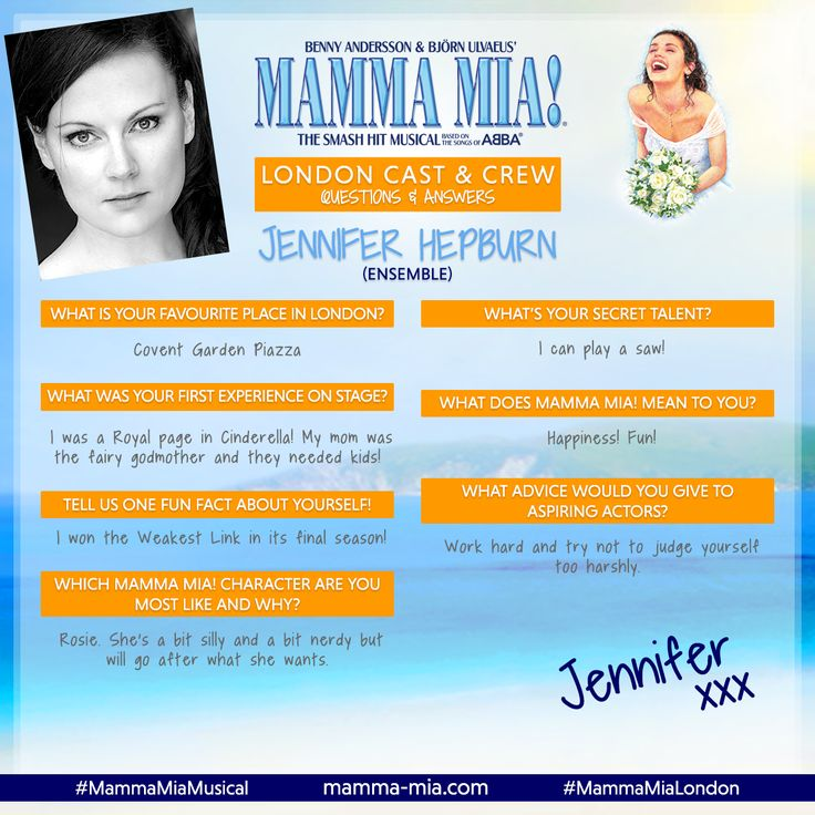 #MeetTheCastMonday - Proudly presenting the f-ABBA-lous Jennifer Hepburn, a member of the ensemble in MAMMA MIA! London 😃 Join Jennifer and the rest of the cast at the Novello Theate, say 'Gimme! Gimme! Gimme!' to tickets today!  #MammaMiaMusical #MammaMiaLondon #MeetTheCast