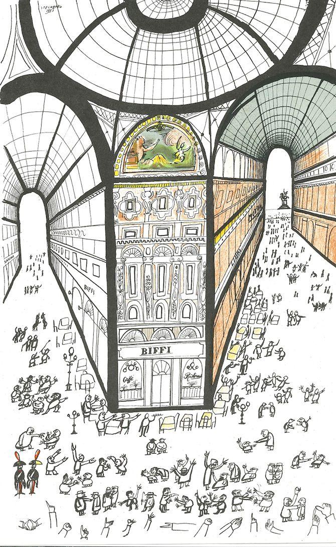 Saul Steiberg, Galleria di Milano, 1951, inchiostro e acquarello su carta, 58.4 x 36.8 cm. Collezione privata. © The Saul Steinberg Foundation/ARS, NY.