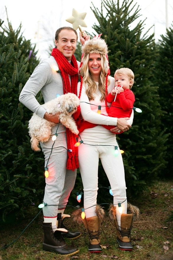 Cute family Christmas photo.  We want to do this with footie pajamas
