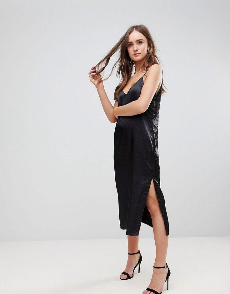 FINDERS KEEPERS CLAUDE MIDI SLIP DRESS - BLACK. #finderskeepers #cloth #