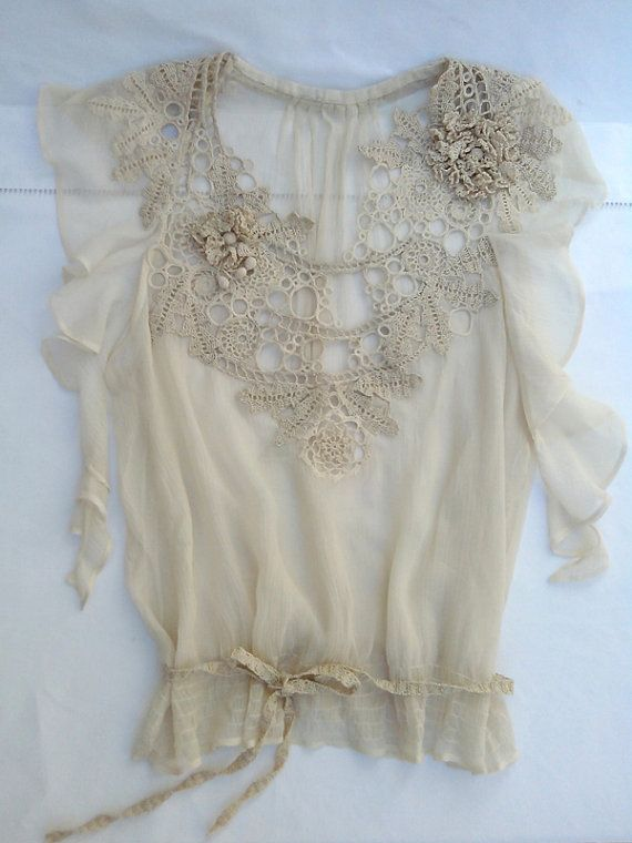 Top ecru silk plastron hook lace by severineledore on Etsy, €220.00