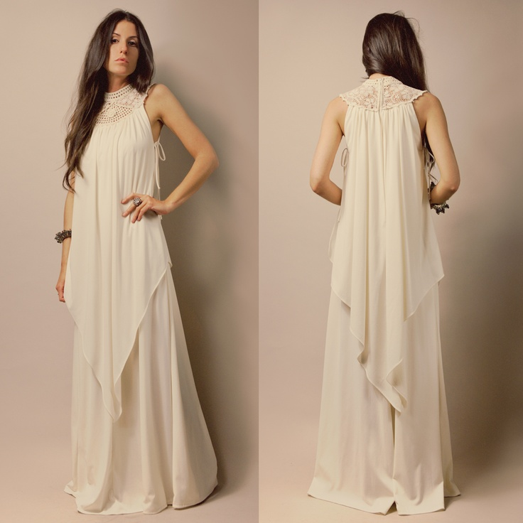 Vtg 70s Ivory Grecian Goddess Crochet Ultra Draped Boho