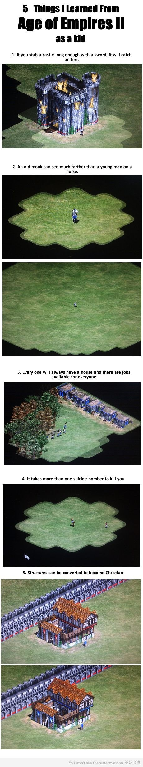 Age of Empires II -- oh that game was awesome. And a little absurd. But mostly awesome.
