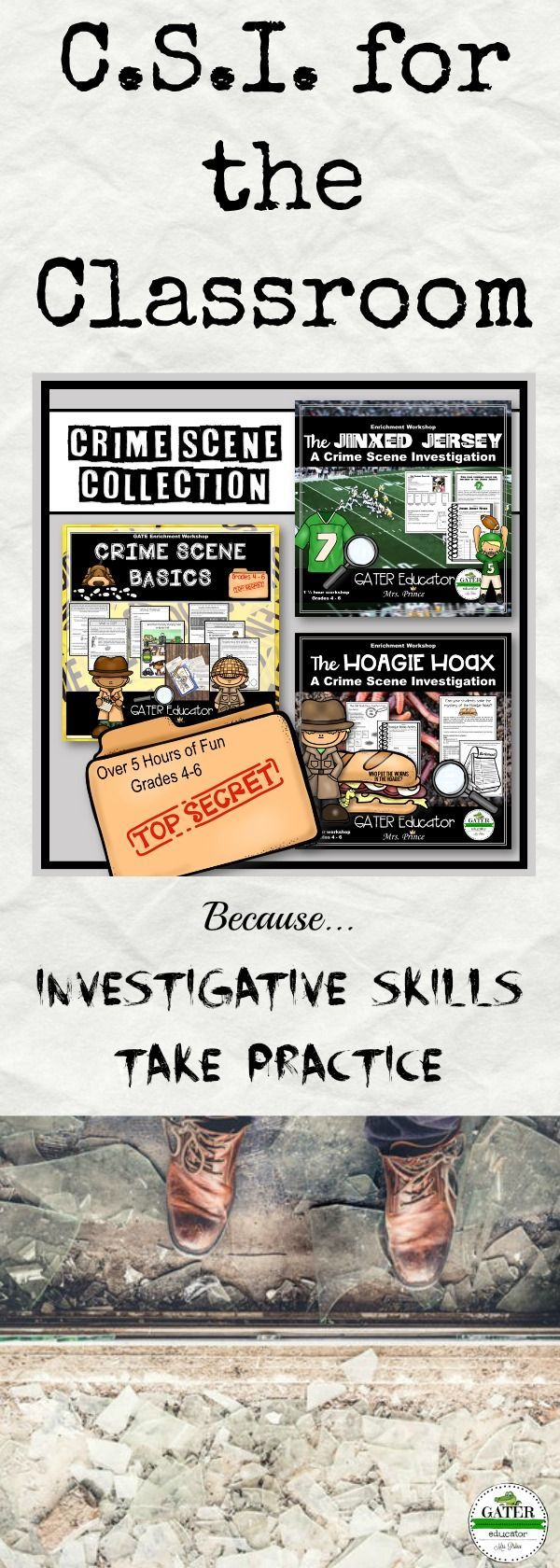 These CSI activities for kids and high ability learners are an interactive bundle of fun investigations and lesson plans. With over five hours of forensic science case studies, detective work, puzzles and other hands on activities, your 4th, 5th and 6th grade students will be Crime Scene professionals in no time. These activities are perfect for Fourth, Fifth and Sixth grade classrooms as well as GATE or Homeschool. The easy prep lesson plans makes them great for sub plans as well.